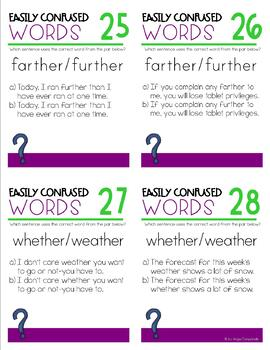 Easily Confused Words Vocabulary Task Cards