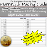 Easily Editable Pre-Dated Year or Semester Pacing & Planni