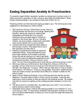 Information for Parents:  Easing Separation Anxiety in Preschoolers