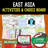 East Asia Activities, Choice Board, Print & Digital, Google Geography