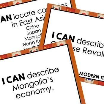 East Asia Geography I Cans, Self-Assessment of Mastery