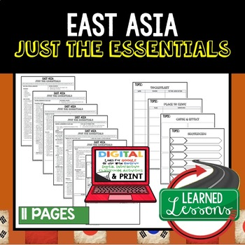 East Asia Geography Outline Notes JUST THE ESSENTIALS Unit Review