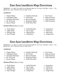 East Asia Landform Map Directions Sheet