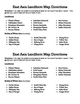 East Asia Landform Map Directions Sheet
