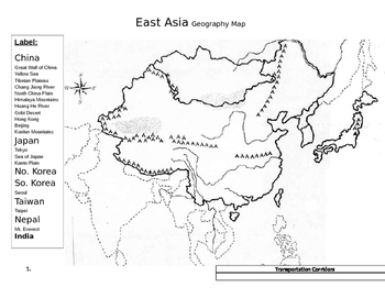 Label The Map Of Asia.Asia Map Worksheets Teaching Resources Teachers Pay Teachers