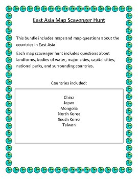 East Asia Map Scavenger Hunt