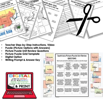East Asia Picture Puzzle, Test Prep, Unit Review, Study Guide
