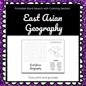 East Asian Geography Printable Word Search Puzzle