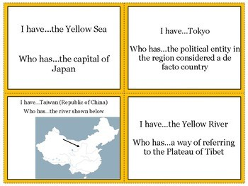 East Asia's Physical Geography Review Game: I Have Who Has