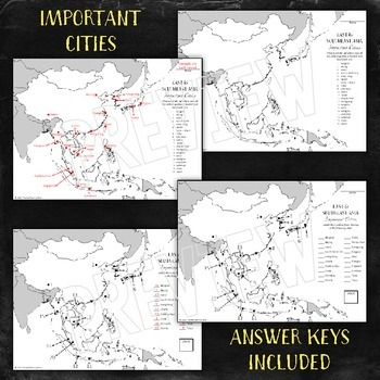 Asia Map Unit: East & Southeast Regions with Outline Maps and Tests