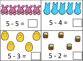 Easter 1-5 Subtraction Dry Erase Cards