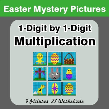 Easter: 1-digit by 1-digit Multiplication - Color-By-Number Math Mystery Pictures