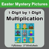 Easter: 1-digit by 1-digit Multiplication - Color-By-Numbe