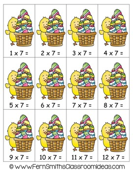 Easter Math A Quick and Easy to Prep Multiply By Seven Center Game