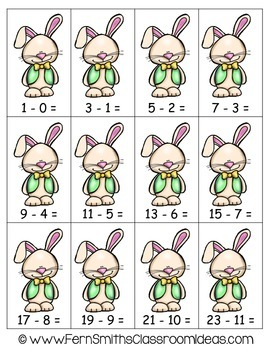 Easter Math A Quick and Easy to Prep Subtraction Doubles Plus One Center Game