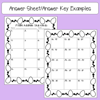 Easter 2 Digit, No Regrouping Addition Task Cards