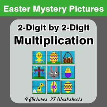 Easter: 2-digit by 2-digit Multiplication - Color-By-Number Mystery Pictures