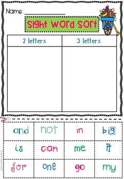 Easter Activities - Sight Word Sorts