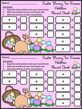 Easter Activities: Easter Bunny Easter Ten Frames Math Activity Packet