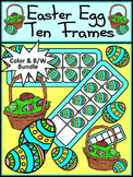 Easter Activities: Easter Egg Ten Frames Spring Math Activity Bundle - Color&BW