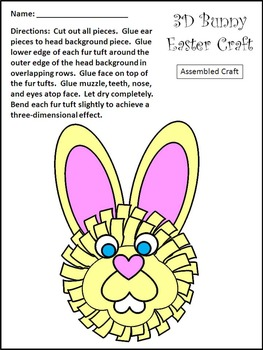 Easter Activities: 3D Easter Bunny Easter Craft Activity Packet