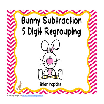 Easter 5 Digit Subtraction Regrouping Task Cards