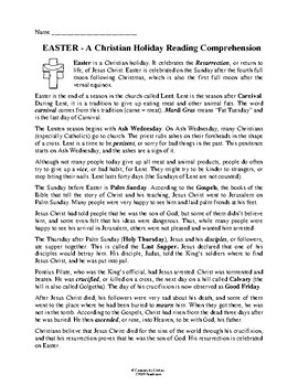 Easter - A Christian Holiday Reading Comprehension