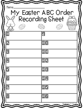 Easter ABC Order Task Cards