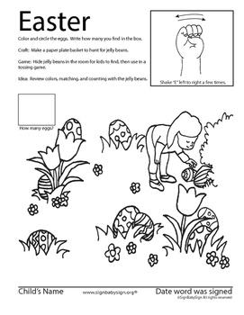 Easter ASL activity sheet.  American Sign Language