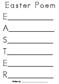 Easter Acrostic Poem Blackline Worksheet With Dotted Writing