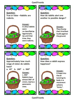 Easter Game Activities: Easter Bunny Trivia Card Game Easter Activity Packet