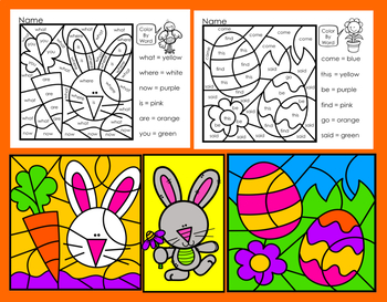 Easter Activities:  Color By Word for Kindergarten Sight Words-NO PREP! Save INK