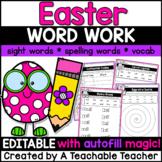 Easter Activities | EDITABLE Easter Word Work