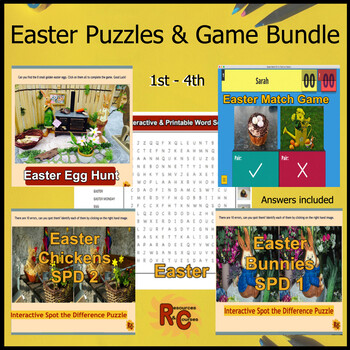 Easter Activities - Interactive Games & Puzzles Grade 1-4 (6 products)
