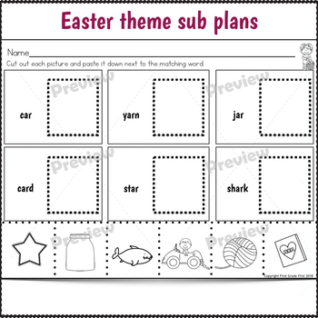 Easter Activities for 1st Grade Sub Plans