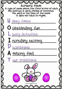 Easter Activity - Acrostic Poems