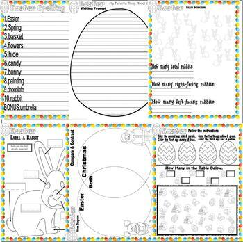 Easter Activity Worksheet Packet : Math Spelling Fun  : Lined Paper : 12 pages