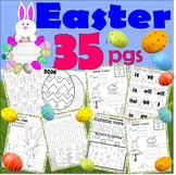 Easter Activity Worksheet Packet : Math Spelling Fun  : Lined Paper : NO PREP