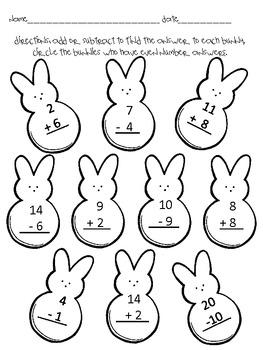 Easter Add & Subtract through 20