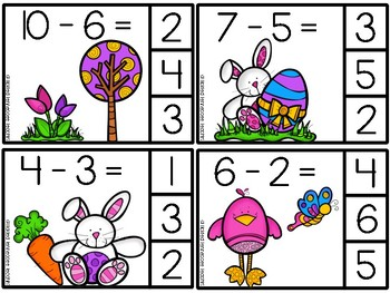 Easter Adding and Subtracting Clip It Cards