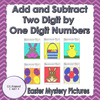 Easter Adding and Subtracting Two Digit by One Digit Number Mystery Pictures
