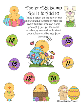 Easter Addition Bump Game: Roll 1 Add 10