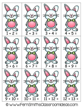 Easter Math A Quick and Easy to Prep Addition Doubles Plus One Center Game