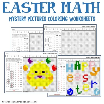 Easter Math Addition, Easter Addition Mystery Pictures Coloring Worksheets