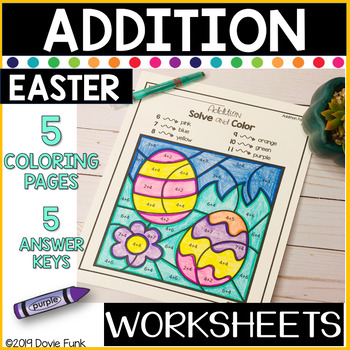 Easter Addition Coloring Worksheets Solve and Color