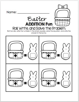 Easter Addition Fun - Little Math Pack (Math By Dice)