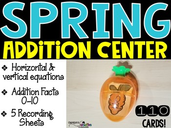 Easter or Spring Carrot Addition Math Center - Addition Facts 0-10