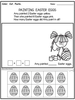 Easter Addition Word Problems - NO PREP, K-2