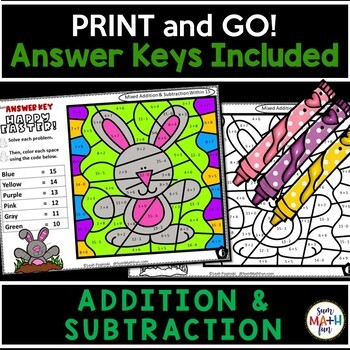 Easter Addition and Subtraction Color by Number || Distance Learning