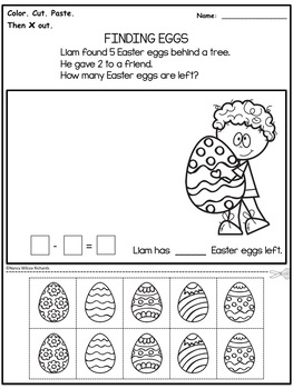 Easter Addition and Subtraction Word Problems - No Prep (K-2)